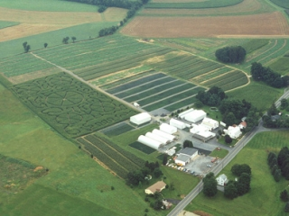 aerial view of grims family orchard