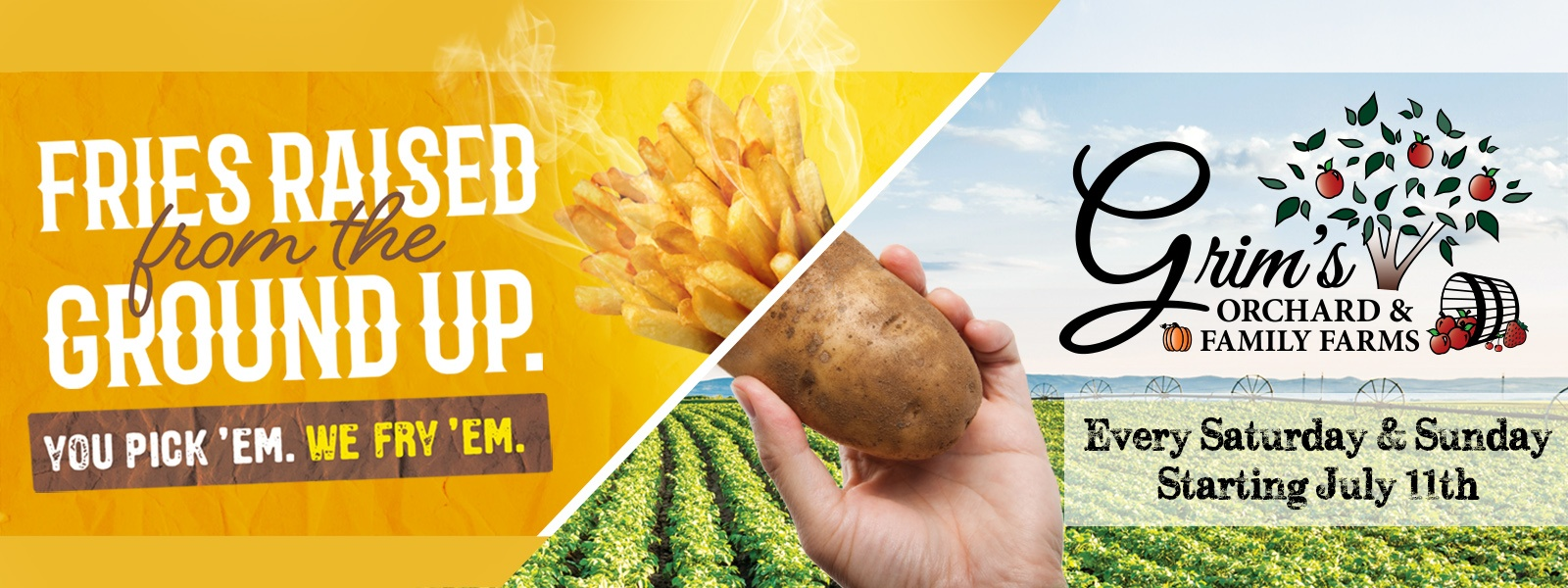 Our Great Potato Dig provides you with the ability to pick your own fresh potatoes and have them turned right into french fries.